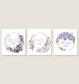 wedding invitation card set with purple peony vector image vector image
