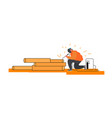 welder welding steel piping in industrial vector image