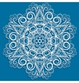 White snowflake on blue vector image