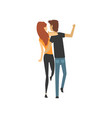young man and woman characters walking together vector image vector image