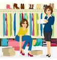 young woman trying on different shoes vector image