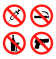 forbidding signs no smoking no drugs no vector image