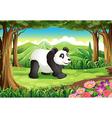 A big panda bear at the forest vector image vector image