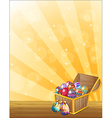A treasure chest full of colorful eggs vector image vector image