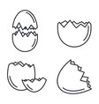 broken eggshell icons set outline style vector image