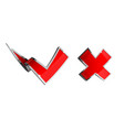 check mark and cross icon isolated on white vector image