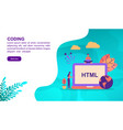 coding concept with character template for banner vector image vector image