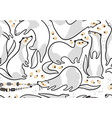 cute cartoon ferrets seamless pattern in outline vector image