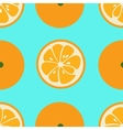 Cute seamless pattern with orange slices on blue vector image vector image