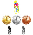 Cycling and three medals vector image vector image