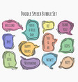 doodle speech bubble set vector image vector image
