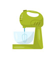 dough mixer with glass bowl bakery equipment vector image