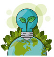 ecology world bulb plant forest green concept vector image vector image