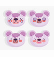 emojis kawaii cartoon faces cute bear vector image vector image