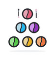 eye shadows in round boxes flat material design vector image vector image