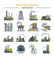 Factory buildings icon set Colour version design vector image