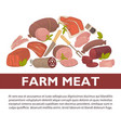 farm meat sausages and delicatessen poster vector image vector image