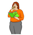 fat girl eat burger and reads book about how to vector image vector image