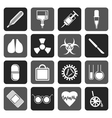 Flat collection of medical themed icons vector image vector image