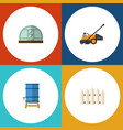 flat icon dacha set of container wooden barrier vector image vector image