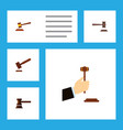 flat icon lawyer set of legal hammer government vector image vector image