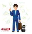 Funny cartoon businessman standing with a bag vector image vector image