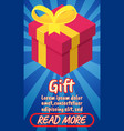 gift concept banner comics isometric style vector image vector image