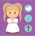girl kid cartoon dove cross rosary icon vector image vector image