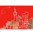 Hand-drawn modern city sketch vector image vector image