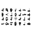hand object icon set simple style vector image