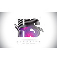 hs h s zebra texture letter logo design vector image vector image