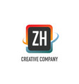 initial letter zh swoosh creative design logo vector image vector image