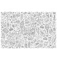 Line art cartoon set of ice-cream objects vector image vector image