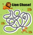 lion chase deer maze game vector image