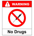 no drugs prohibition sign syringe vector image vector image
