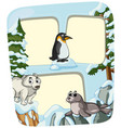 paper template with animals in winter vector image