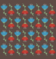 red and sky blue flowers seamless pattern design vector image vector image