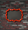 red frame with light bulbs vector image vector image