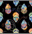 seamless pattern vintage woodenn masks vector image