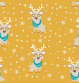 seamless pattern with cute deer in scarf can be vector image vector image