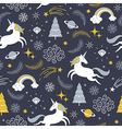 seamless pattern with unicorns Christmas theme vector image