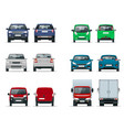 set cars front and rear view sedan off vector image vector image