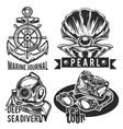 set sea emblems vector image vector image