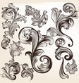 set swirls in vintage style for design vector image vector image
