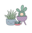 set with cute cartoon succulents cactus and aloe vector image vector image