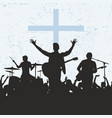 silhouette of the worship group of god vector image vector image