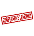 Square grunge red cooperative learning stamp