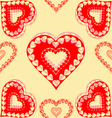 Valentines day red hearts seamless texture gold vector image vector image