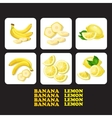 with ripe banana lemon and vector image