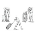 women travelling with wheeled suitcases walking vector image